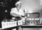 Milk packaging room, Ron packing 1 pint waxed Perga cartons 1