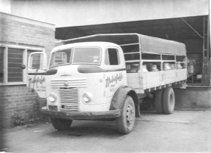 Truck Commer at metal landing 1950