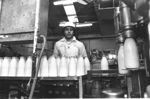 Milk Packaging room Nick bottling milk 1980 foil lids